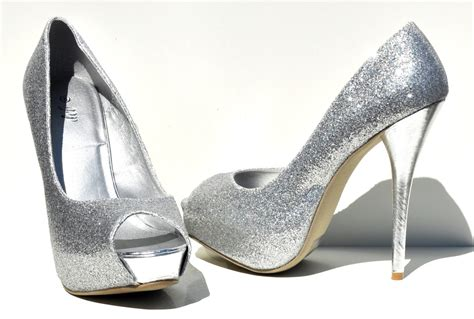 debs high heels deb silver high heel pumps classics open toe womens