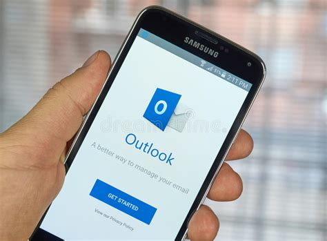 outlook mobile microsoft outlook mobile app editorial photography image