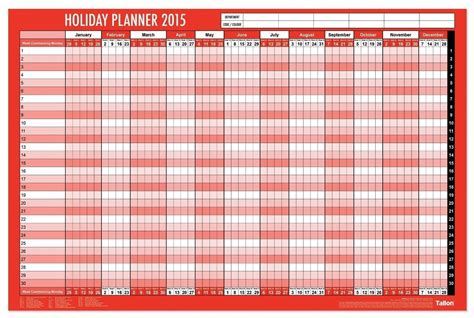 wall staff leave planner calendar template 2016
