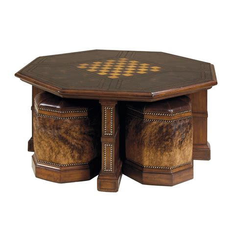 luxury furniture leather cocktail table with four hair