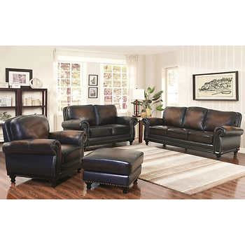 costco living room sets venezia 4 piece top grain leather living room set
