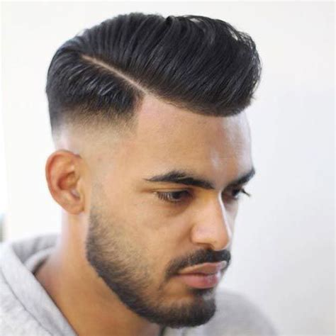 pompadour with hard part pompadour fade haircuts