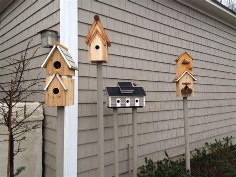 handmade bird houses feeders table