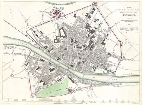 C Nel Florenece file 1835 s d u k city map or plan of florence or firenze