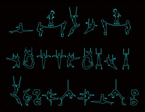 people silhouettes acrobats dwg block  autocad