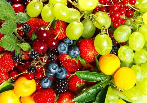 fruits pic mix of fresh fruits and berries stock photo colourbox