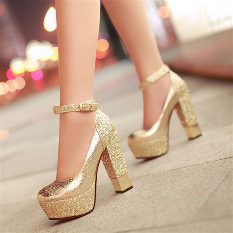 Wedding Shoes Thick Heel by Fashion High Heeled Shoes Thick Heel Platform Paillette