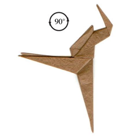Velociraptor Origami - how to make a simple origami velociraptor page 5