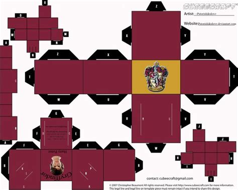 Harry Potter Papercraft - gryffindor cubee by patorishikulove on deviantart