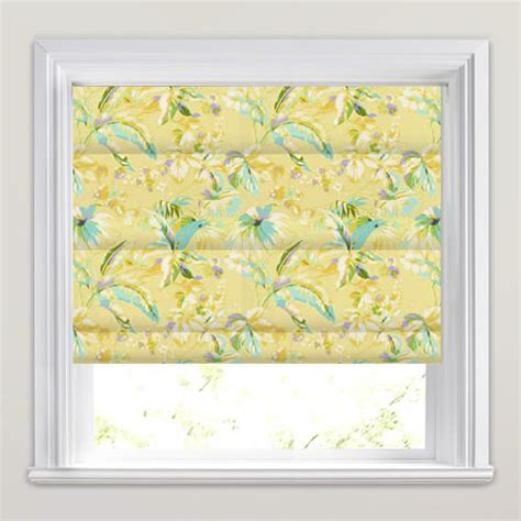 yellow patterned roman blinds yellow lilac blue white exotic flowers patterned roman