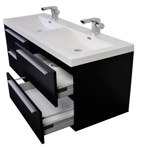 57 Bathroom Vanity 57 Inch Modern Sink Vanity Set With Wavy Sinks Black Tn B1440 Bk Conceptbaths