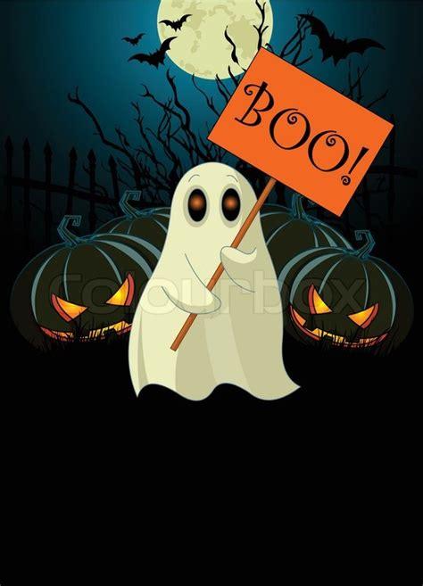 cute ghost  boo sign stock vector colourbox