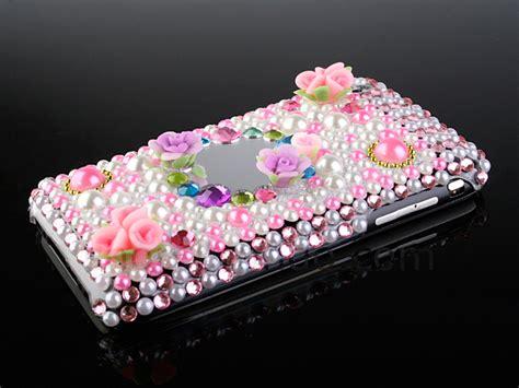 Bumper Slide Flower Swarovski Keren Cover Casing Oppo Neo 5 iphone 2g 3g 3g s bling bling back pearls flowers with mirror