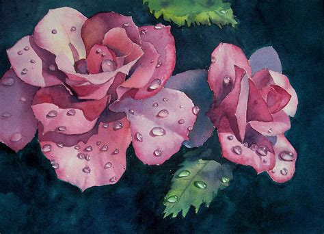 raindrops on roses painting by philip fleischer