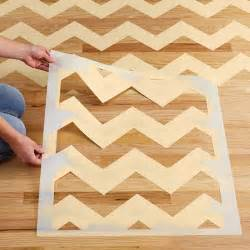 chevron stenciled floor