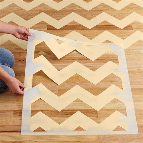 Chevron Template For Painting chevron stenciled floor