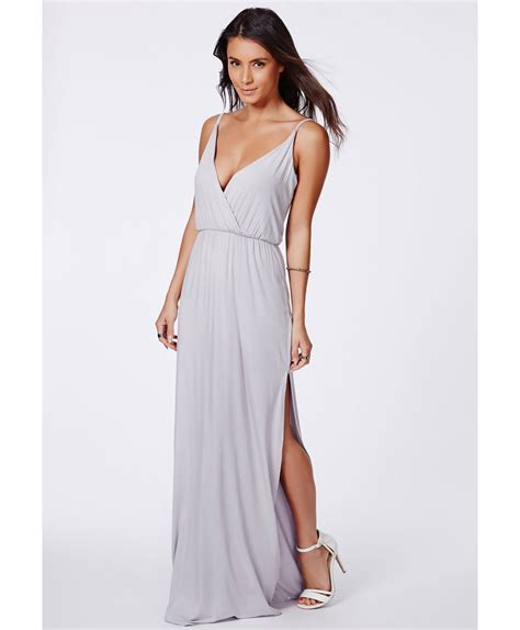 Dress Maxy Grey missguided lumie grey strappy wrap front maxi dress in gray lyst