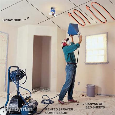 knock ceiling how to apply knock ceiling texture the family handyman