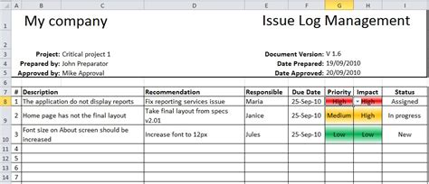 open issues list template excel items issue log template with sle data excel templates