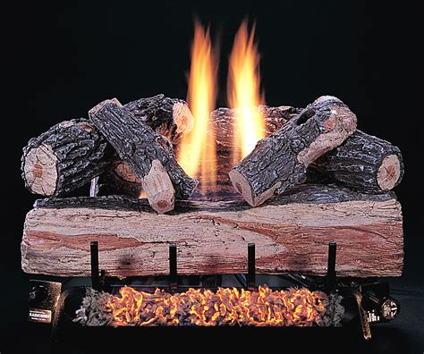 ventless gas fireplace with split oak gas logs