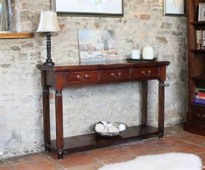 Narrow Foyer Tables La Roque Mahogany Console Hall Table With Drawers Imr02c