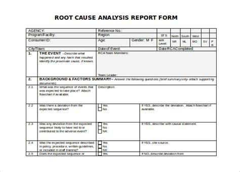 root cause failure analysis template 29 root cause analysis templates word free premium