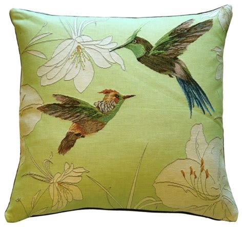 Decorative Throws Pillow Decor Hummingbirds Green Tapestry Throw