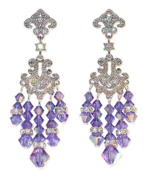 Purple Chandelier Earrings Tanzanite Purple Chandelier Earrings Swarovski Elements Prom Pageant Ebay