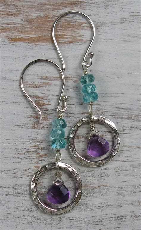 Handmade Beaded Gemstone Jewelry - handmade amethyst and apatite zen circle earrings