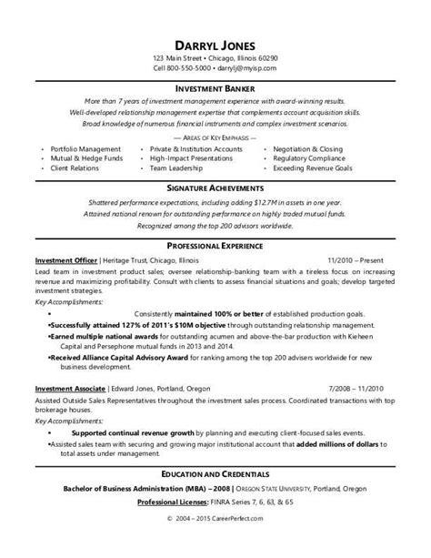 Resume Exles Banker Investment Banker Resume Sle