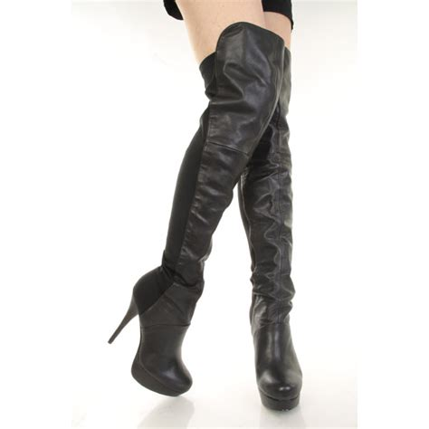 steve madden black multi leather thigh high platform boots