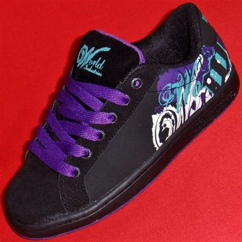 skate sneakers womens new s black purple world industries smith athletic