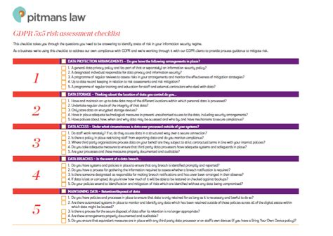Gdpr Risk Assessment Template Gdpr 5 X 5 Risk Assessment Checklist Pitmans Law Pitmans Law