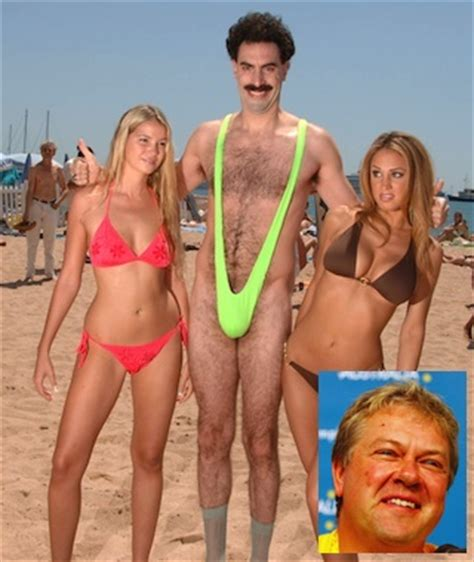 australian athlete loses bet, has to wear borat mankini to
