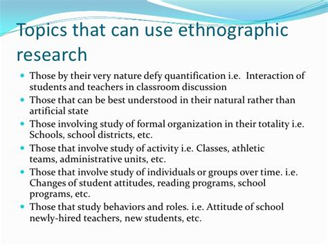 ethnographic research paper topics ethnographic research
