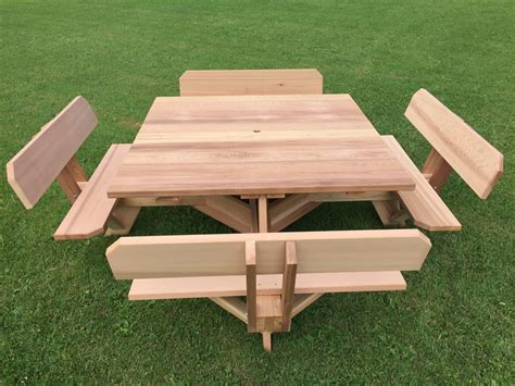 western red cedar picnic table  backed benches