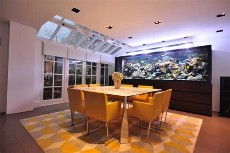 Aquarium In Dining Room by Built In Aquarium Bathroom With Coffered Ceiling Wood Panel Wall White Window Trim
