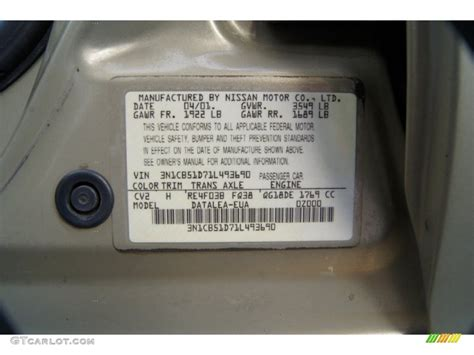 2001 nissan sentra xe color code photos gtcarlot