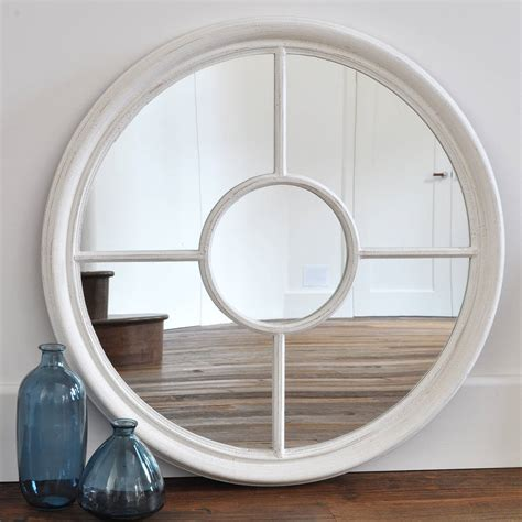 White Bedroom Mirror - antique white and grey round window mirror by primrose amp plum notonthehighstreet com