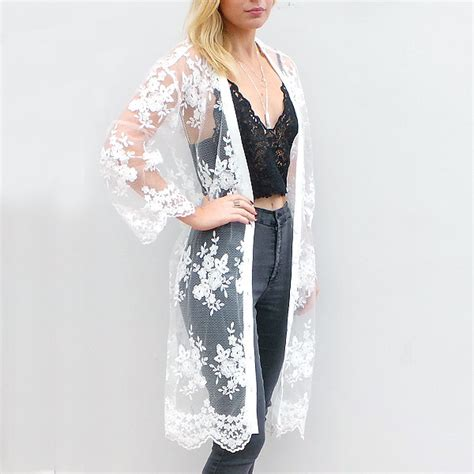 pattern lace duster kimono white lace duster kimono by little by little