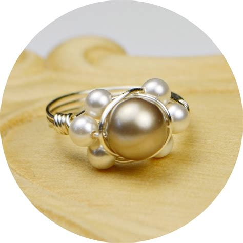 pearl ring sterling silver filled wire wrap ring with