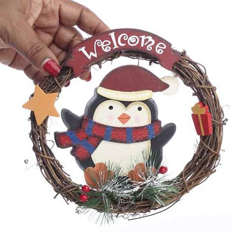 crafts direct for the holidays welcome to quot welcome quot penguin grapevine wreath florals