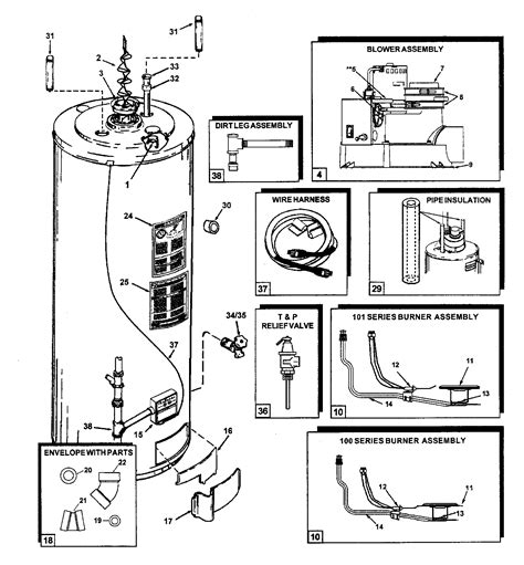 Gas Water Heater Blue Gas gas water heater parts diagram smartdraw diagrams