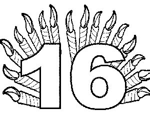 number 16 template number 16 coloring activities coloring pages