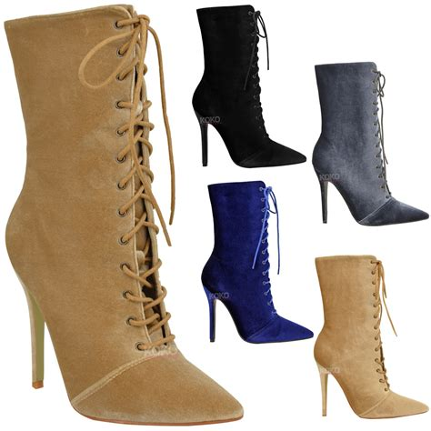 laced high heel ankle boots womens lace up stretchy high heel stiletto ankle