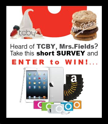 Tcby Gift Card - free tcby survey for a chance to win ipad mini s gift cards more thrifty momma
