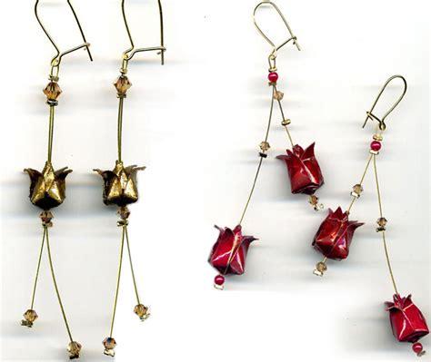 Bijoux Origami - bijou origami boucles d oreilles lotus et grues sauvages