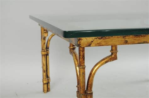 italian gold gilt iron and glass faux bamboo metal square