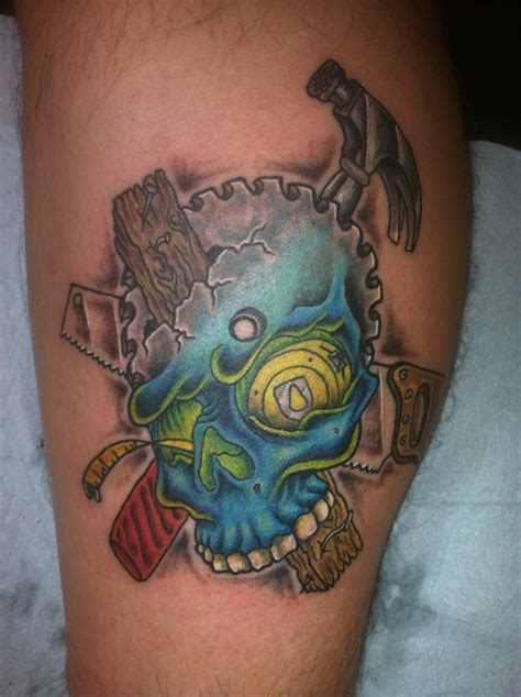 hubby s 3rd tattoo carpenter skull i like your tattoo