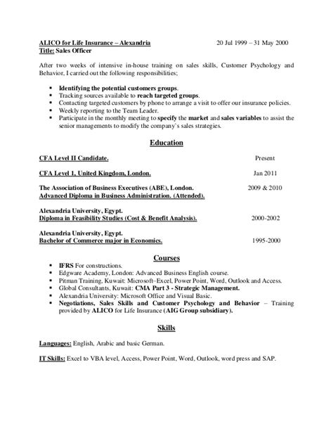 cfa resume writing